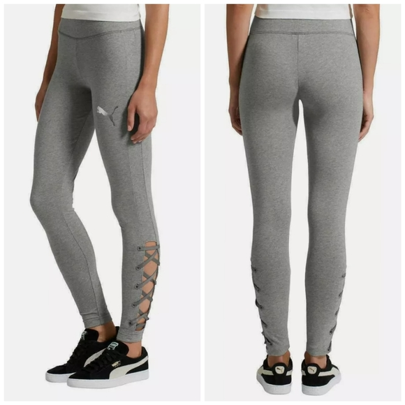 Gray Lace Up Ankle Womens Leggings Size